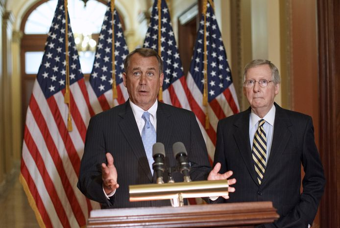 House Speaker John A. Boehner (left), Ohio Republican, and Senate Minority Leader Mitch McConnell, Kentucky Republican (Associated Press)