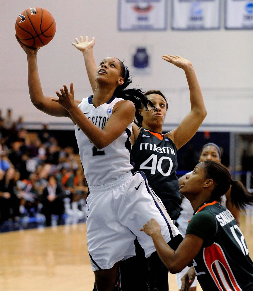 """""""This is my last go-around,"""" Georgetown senior Tia Magee said of the Big East tournament. """"I'm having a lot of self-talk about the things that I have to do. But [I have also been] talking to the younger girls and trying to get them prepared."""" (Associated Press)"""