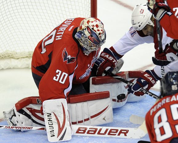 Washington Capitals goalie Michal Neuvirth has a 9-9-3 record with a 2.83 goals-against average and .903 save percentage this season. (AP Photo/Nick Wass)