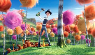 """In """"The Lorax,"""" an evil industrialist called the Once-Ler deforests an entire region while harvesting Truffula trees to produce garments made from their silky threads. (Universal Pictures via Associated Press)"""