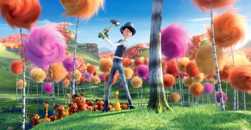 "In ""The Lorax,"" an evil industrialist called the Once-Ler deforests an entire region while harvesting Truffula trees to produce garments made from their silky threads. (Universal Pictures via Associated Press)"