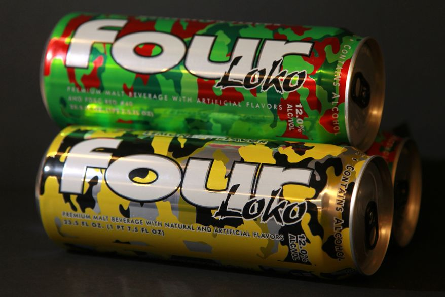 Cans of fruit-flavored malt liquor called Four Loko are seen Feb. 29, 2012, in Washington. (Associated Press)