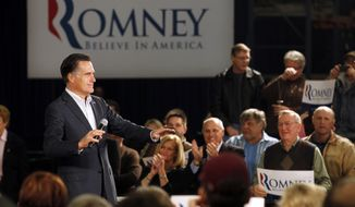 Republican presidential candidate and former Massachusetts Gov. Mitt Romney speaks March 1, 2012, at a campaign rally in Fargo, N.D. (Associated Press)