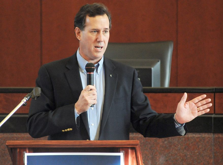 Republican presidential hopeful Rick Santorum Rick Santorum addresses a crowd of around 200 at the City Hall in Dalton, Ga., Thursday, March 1, 2012. The former Pennsylvania senator held a rally Thursday in Dalton ahead of Georgia's Super Tuesday primary next week. (AP Photo/The Daily Citizen, Matt Hamilton)