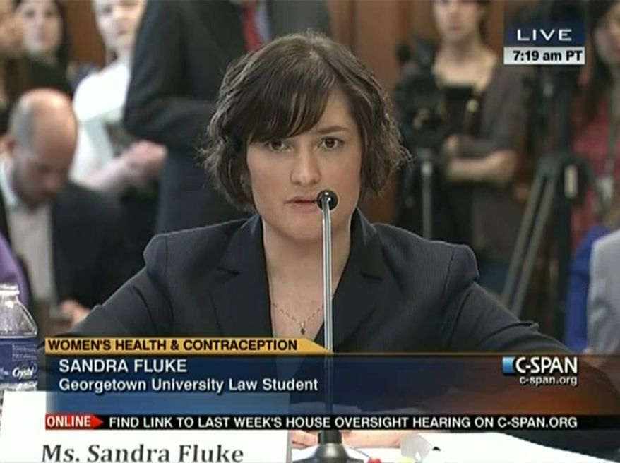 "In this image made from Thursday, Feb. 23, 2012, video provided by C-SPAN, Sandra Fluke, a third-year Georgetown University law student, testifies to Congress in Washington. Limbaugh drew fire Friday, March 2, 2012, from many directions for his depiction of Fluke as a ""slut"" because she testified before Congress about the need for contraceptive coverage. (AP Photo/C-SPAN)"