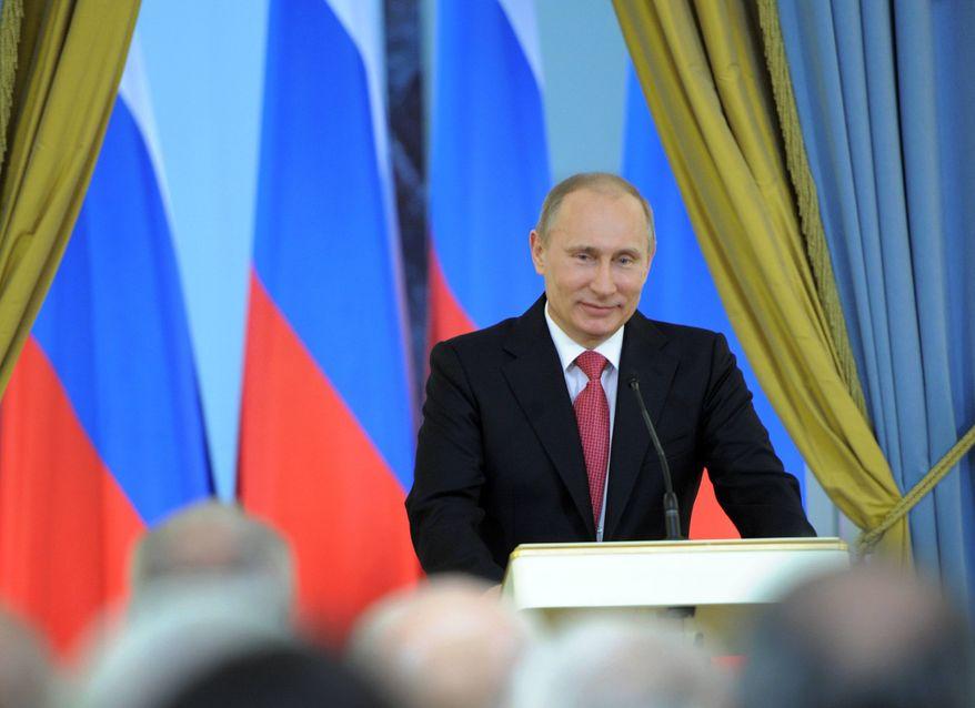 Russian Prime Minister Vladimir Putin speaks at an award presentation ceremony for achievements in culture in Moscow, Saturday, March 3, 2012. (AP Photo/RIA-Novosti, Yana Lapikova, Government Press Service)