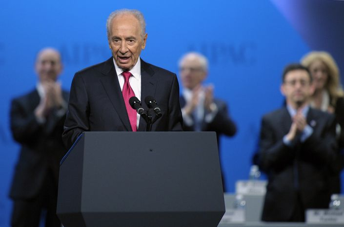 Israeli President Shimon Peres addresses the American Israel Public Affairs Committee (AIPAC) Policy Conference in Washington on Sunday, March 4, 2012. (AP Photo/Cliff Owen)