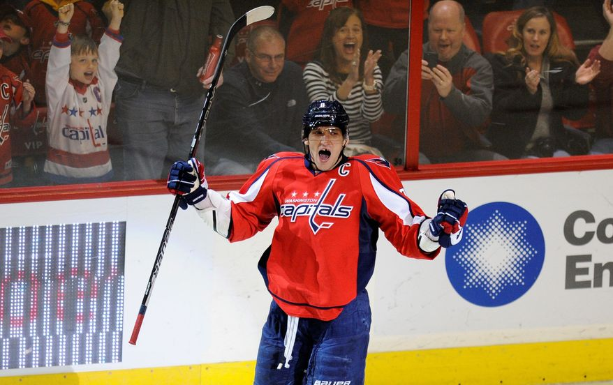 Left wing Alex Ovechkin, celebrating a goal Feb. 24 against Montreal, is the last Capital to score since Feb. 28. His overtime goal beat the New York Islanders 3-2. (Associated Press)