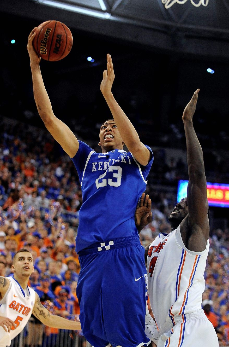 ** FILE ** Anthony Davis (23) has a strong supporting cast at top-ranked Kentucky. He's considered one of the leading contenders for NCAA player of the year along with Kansas' Thomas Robinson. (Associated Press)