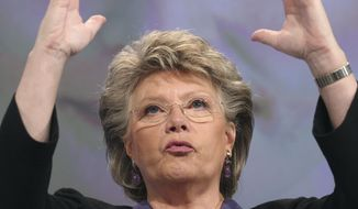 **FILE** Viviane Reding, EU's Justice Commissioner, addresses the media at the European Commission headquarters in Brussels on March 5, 2012. (Associated Press)