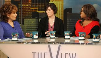 "Georgetown University law student and activist Sandra Fluke (center) speaks March 5, 2012, during an appearance in New York on the daytime talk show ""The View"" as co-hosts Joy Behar (left) and Sherri Shepherd listen. Fluke talked about conservative radio host Rush Limbaugh and the comments he made on his program after she testified to Democratic members of Congress in support of a requirement that health care companies provide coverage for contraception. (Associated Press/ABC)"