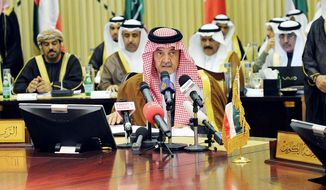 "Prince Saud al-Faisal, the Saudi foreign minister, held a rare televised news conference Sunday after a meeting with counterparts in the Persian Gulf region. He took a direct jab at the regime of Bashar Assad by saying there are Syrians ""who do not represent the majority of people [and] who work with Iran."" (Associated Press)"