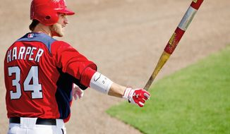 Washington Nationals right fielder Bryce Harper (34) warms up as he gets ready to bat as the Washington Nationals play the Georgetown Hoyas during a spring training exhibition game at Space Coast Stadium, Viera, Fla., Friday, March 2, 2012. (Andrew Harnik/The Washington Times)