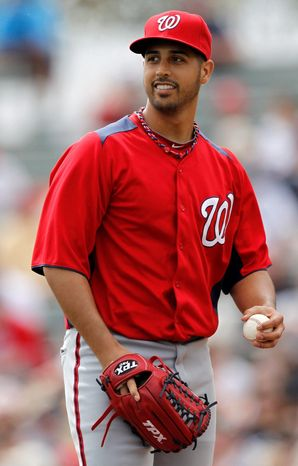 Nationals left-hander Gio Gonzalez worked three solid innings against the Atlanta Braves in Washington's 5-2 win at Lake Buena Vista, Fla. (Associated Press)