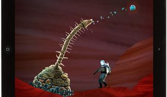 Global Space Agency's astronaut Liang Qi interacts with some unusual plant life in the iPad game Waking Mars.
