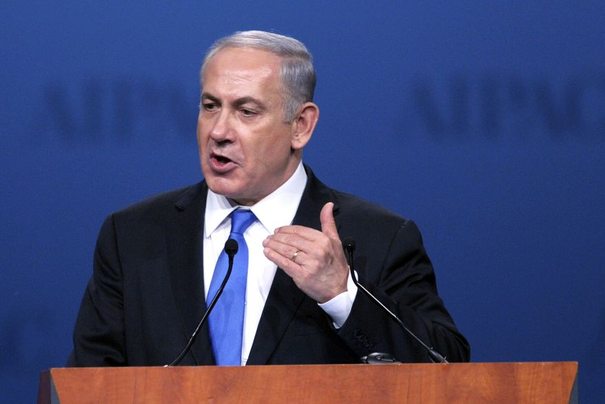 ** FILE ** Israeli Prime Minister Benjamin Netanyahu addresses the American Israel Public Affairs Committee (AIPAC) Policy Conference in Washington on Monday, March 5, 2012. (AP Photo/Cliff Owen)