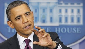 President Obama gestures during a news conference at the White House on March 6, 2012. (Associated Press)