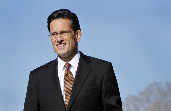 **FILE** House Majority Leader Eric Cantor, Virginia Republican, speaks Jan. 31, 2012, during a news conference on Capitol Hill. (Associated Press)