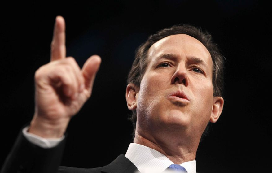 Republican presidential candidate, former Pennsylvania Sen. Rick Santorum speaks before the American Israel Public Affairs Committee (AIPAC), in Washington, Tuesday, March 6, 2012. (AP Photo/Charles Dharapak)