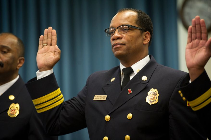 D.C. Fire Chief Kenneth Ellerbe is sworn in before his testimony during a Council of the District of Columbia Committee on the Judiciary public hearing in the John A. Wilson Building in Washington, D.C., Wednesday, March 7, 2012. (Rod Lamkey Jr./The Washington Times)