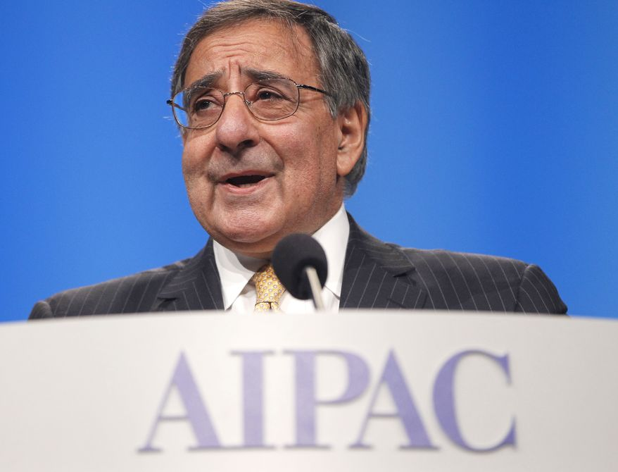 Defense Secretary Leon E. Panetta speaks on Tuesday, March 6, 2012, before the American Israel Public Affairs Committee (AIPAC) in Washington. (Associated Press)