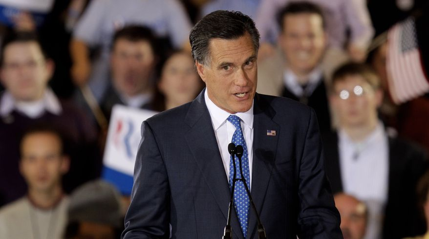 Republican presidential candidate and former Massachusetts Gov. Mitt Romney addresses supporters March 6, 2012, at his Super Tuesday campaign rally in Boston. (Associated Press)