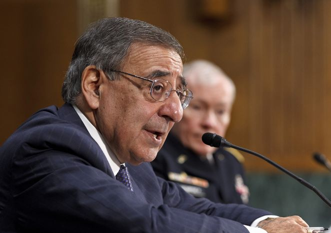 Defense Secretary Leon Panetta, accompanied by Joint Chiefs Chairman Gen. Martin Dempsey, testifies March 7, 2012, on Capitol Hill before the Senate Armed Services Committee on the crisis in Syria. (Associated Press)