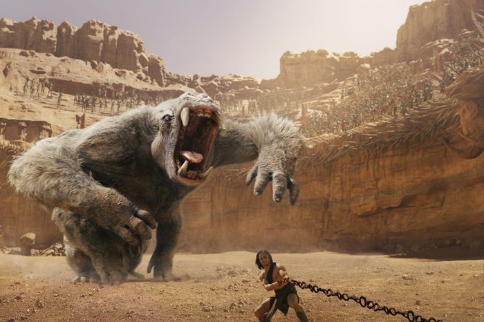 """""""John Carter"""" sees Taylor Kitsch transported to Mars where he leads the resident Thark people against an invader. (Disney via Associated Press)"""
