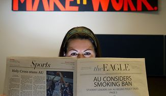Lindsey Anderson, editor-in-chief of American University's on-campus paper the Eagle, has a staff of about 25 to 30 people that puts out a print edition of the paper each Tuesday. (Barabara L. Salisbury/The Washington Times)