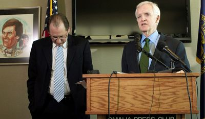 Chuck Hassebrook (left) bows out of the race for Nebraska's open U.S. Senate seat Thursday and endorses Bob Kerrey (right), a former governor and senator from the state. The two men had been vying for the Democratic nomination to replace the retiring Sen. Ben Nelson. (Associated Press)