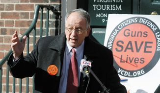**FILE** In Colorado and Oregon, advocates of gun rights were victorious when courts in both states agreed that universities must defer to state laws allowing permit holders to carry concealed handguns. Here, Virginia Delegate Robert G. Marshall, Prince William Republican, speaks at a gun rally in Richmond, Va., in support of a bill in the state legislature that would allow faculty with concealed carry permits to have firearms on college campuses. (Associated Press)