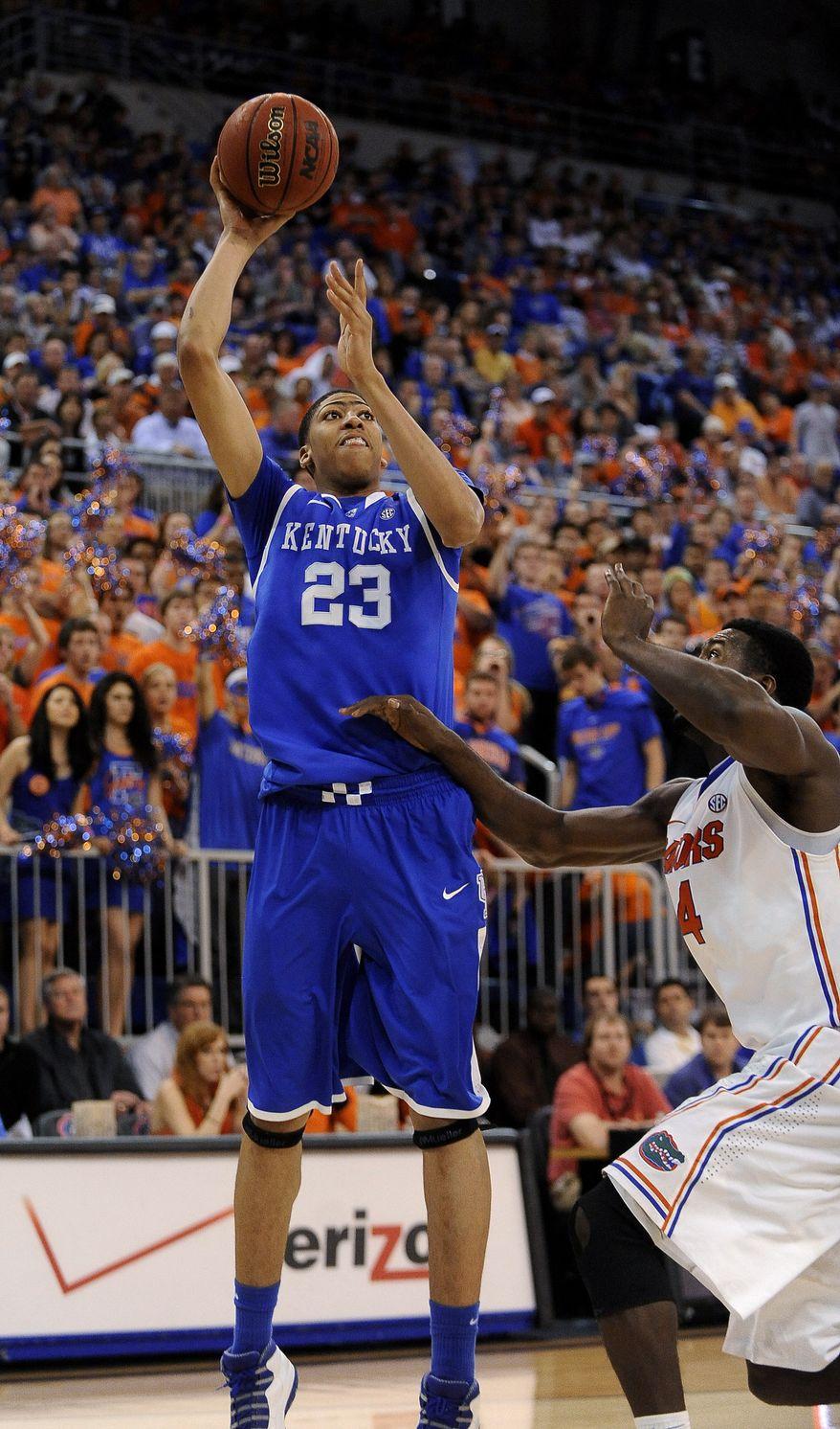 Kentucky freshman Anthony Davis is averaging 14.4 points, 9.8 rebounds and 4.7 blocks per game. AP Photo/Phil Sandlin)