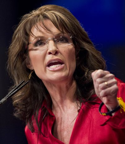 **FILE** Former Alaska Gov. Sarah Palin delivers the keynote address at the Conservative Political Action Conference (CPAC) in Washington on Feb. 11, 2012. (Associated Press)