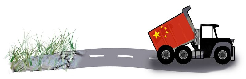 Illustration: Chinese dumping by John Camejo for The Washington Times