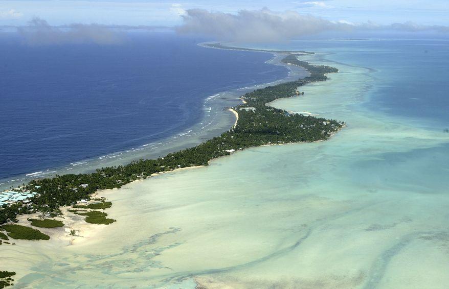 **FILE** Tarawa atoll, Kiribati, is seen in an aerial view on March 30, 2004. (Associated Press)