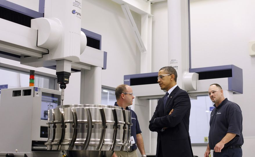 President Obama tours the Rolls-Royce Crosspointe jet engine disc manufacturing facility in Prince George, Va., on Friday, March 9, 2012, with employees Robert Abernathy (left) and Steven C. Morris. The facility makes precision-engineered engine discs and other components for aircraft. (Associated Press)