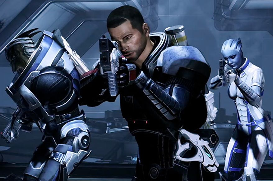John Shepard looks for allies and a fight in the video game Mass Effect 3.