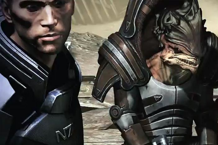 John Shepard teams up with a Krogan in the video game Mass Effect 3.