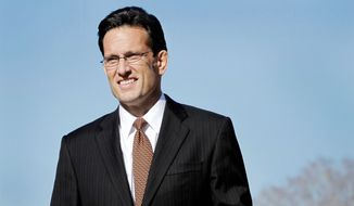 "In this photo taken Jan. 31, 2012, House Majority Leader Eric Cantor of Va., speaks during a news conference on Capitol Hill in Washington. Sunday, March 4, 2012, Cantor, the second-ranking Republican in the House said he is throwing his support behind Mitt Romney in the GOP presidential race. He said Romney is the only candidate who has come out with ""a bold pro-growth, pro-jobs plan for the future."" (AP Photo/Jacquelyn Martin)"