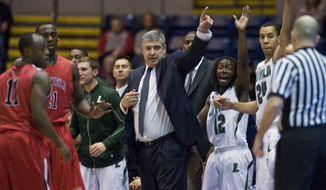 Loyola head coach Jimmy Patsos led his team to the Metro Atlantic championship, and and it will face Ohio State in the first round as a 15 seed. (AP Photo/Jessica Hill)
