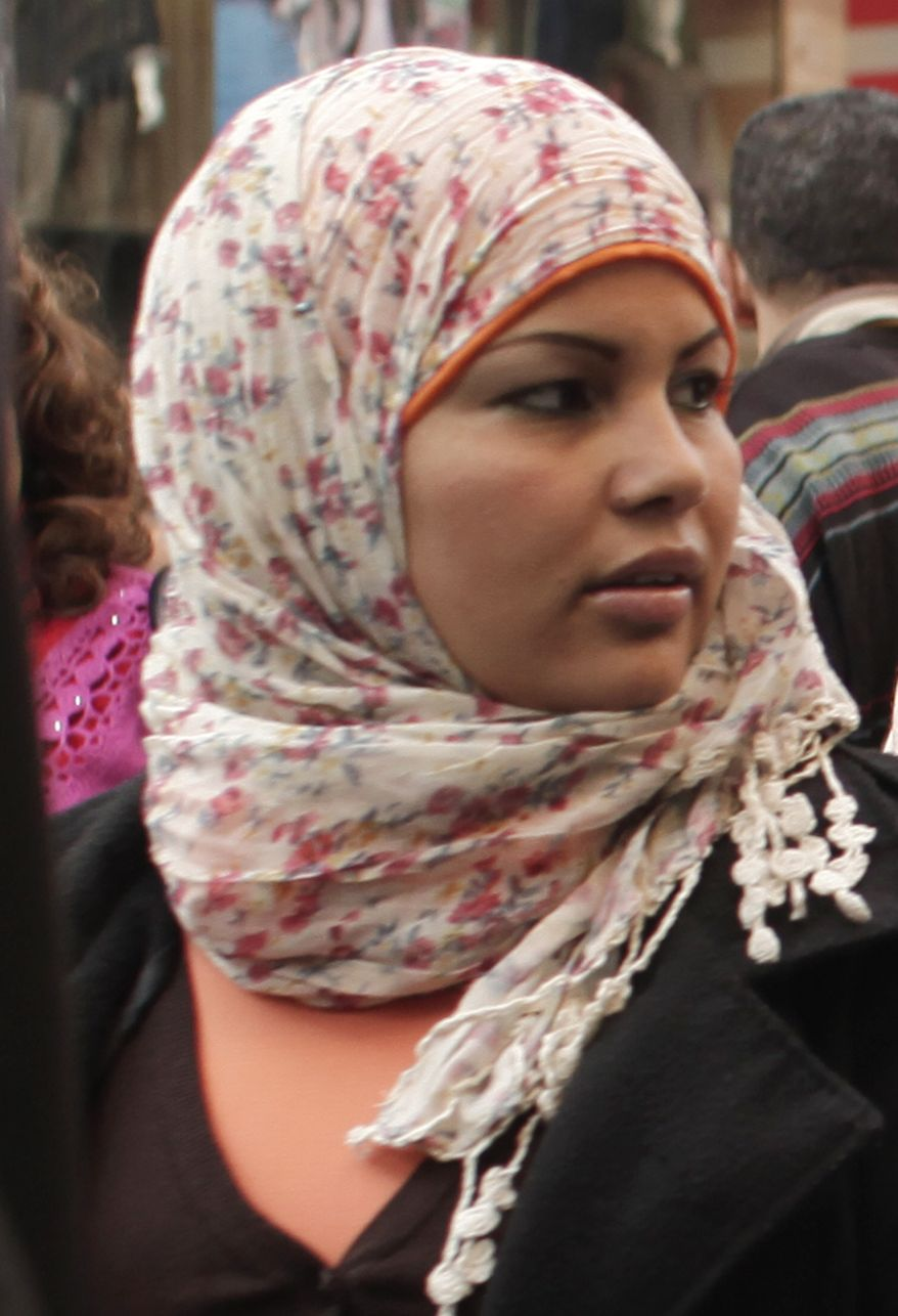 Egyptian activist Samira Ibrahim attends a rally in downtown Cairo on Thursday, March 8, 2012, to mark International Women's Day. (AP Photo/Maya Alleruzzo)