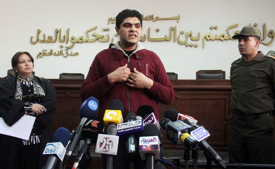 Dr. Ahmed Adel, an Egyptian army physician who was charged in the forced virginity-tests case on female Egyptian protesters last year, speaks during a press conference at a military court in Cairo on Sunday, March 11, 2012. (AP Photo)