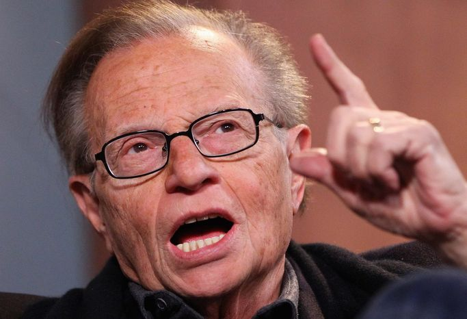 "Larry King talks with host Jamie LaFiego while appearing as a guest on ""Up Late"" on Thursday, March 1, 2012, at Marshall University in Huntington, W.Va. (AP Photo/The Herald-Dispatch, Mark Webb)"