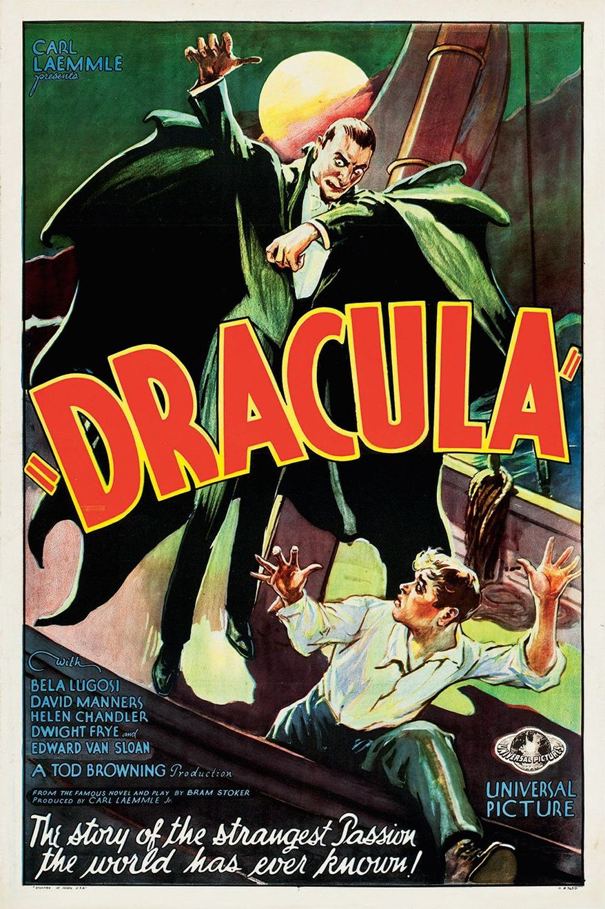 "Bela Lugosi gained fame for his role in the 1931 film ""Dracula."" The movie poster from the film is considered the star of the posters being sold at auction this month.  (Heritage Auctions via Associated Press)"