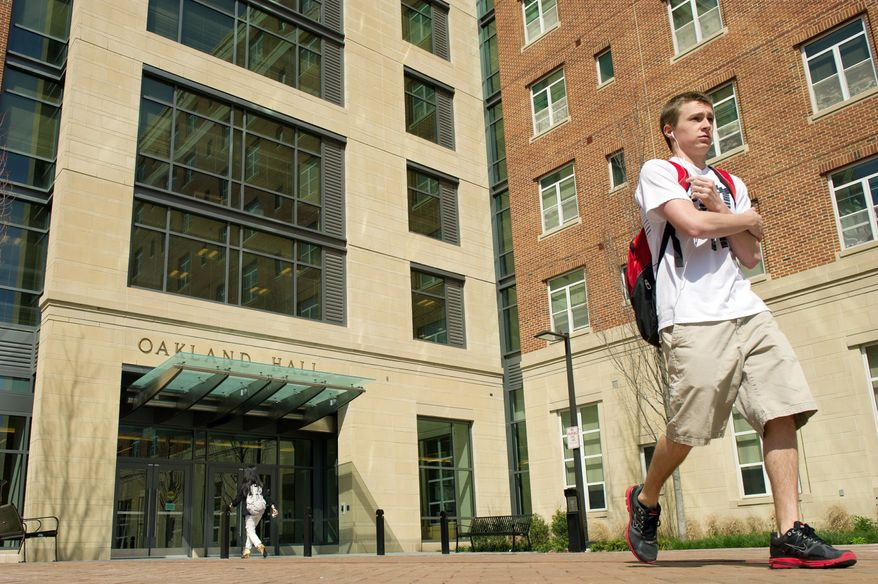 "Oakland Hall is the dormitory where Alexander Song, a University of Maryland sophomore was living on campus before being arrested Sunday after posting online comments in which he made threats about going on a ""Shooting Rampage"" on ""The Mall,"" an outdoor area of campus. (Andrew Harnik/The Washington Times)"