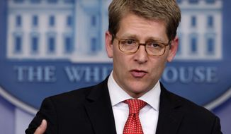 White House Press Secretary Jay Carney speaks March 12, 2012, during the daily news briefing at the White House. (Associated Press)
