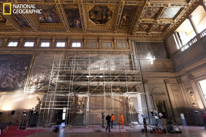 Researchers may have discovered traces of a lost mural by Leonardo da Vinci by poking a probe through cracks in a 16th-century fresco painted over another work on the wall of the Palazzo Vecchio in Florence, Italy. (National Geographic via Associated Press)