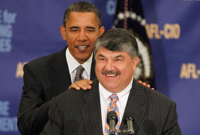 AFL-CIO President Richard Trumka, seen here in August 2010 introducing President Obama for a Washingon speech to the labor federation's executive council, said Tuesday that all 57 affiliates of the AFL-CIO voted to support Mr. Obama's bid to win a second term with money and manpower. (Associated Press)