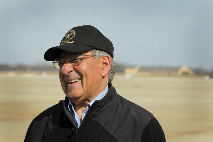 Secretary of Defense Leon E. Panetta prepares to depart from Andrews Air Force Base outside Washington on Monday, March 12, 2012, on a trip to Central Asia. (AP Photo/Scott Olson, Pool)