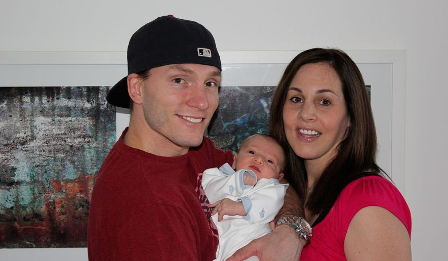 It has been an eventful winter for Washington Capitals forward Keith Aucoin, a minor-league journeyman now in the midst of an NHL playoff run, a run made all the sweeter when his wife, Maureen, gave birth to son Brayden on Feb. 29. (Aucoin family)